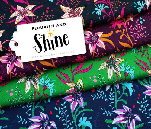 Albstoffe Shine - Flourish and Shine Schwarz