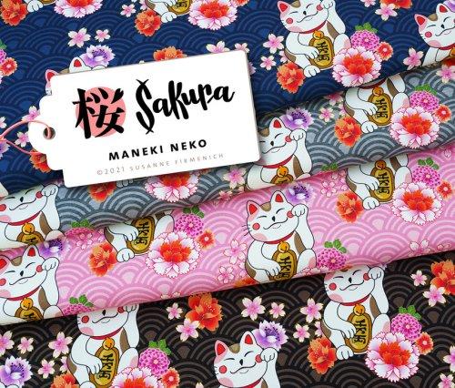 Albstoffe Sakura - Maneki Neko Rosa