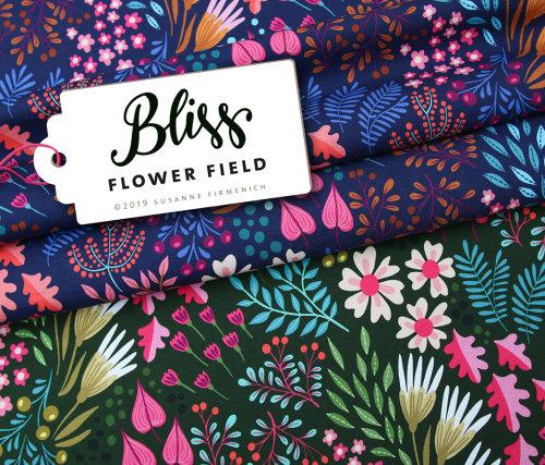 Albstoffe Sparkle Bliss - Flower Fields Blau