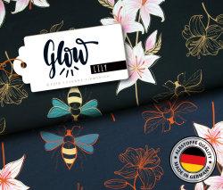 Albstoffe Glow - Lily Blau Schwarz