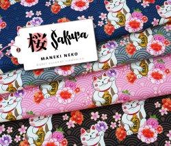 Albstoffe Sakura - Maneki Neko Grau Sweat