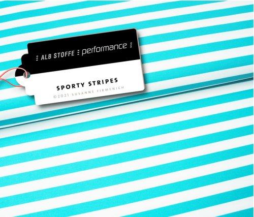 Albstoffe Performance - Sporty Stripes von Hamburger Liebe Türkis