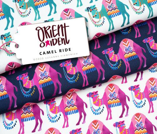 Albstoffe Sweat Orient Oxident - Camel Ride weiß